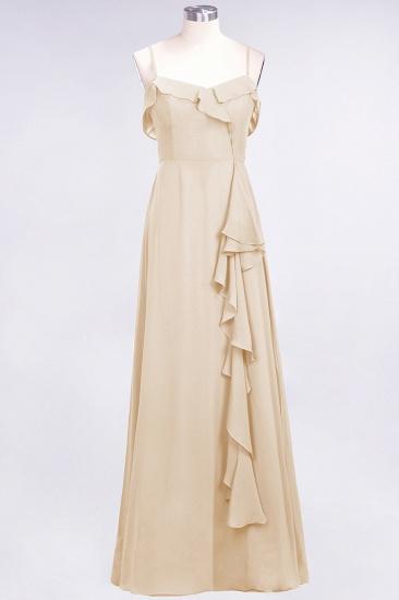 BMbridal Elegant Spaghetti Straps Ruffle Burgundy Chiffon Dresses Affordable_14