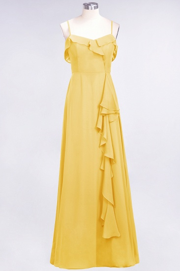 Elegant Spaghetti Straps Ruffle Burgundy Chiffon Dresses Affordable_17