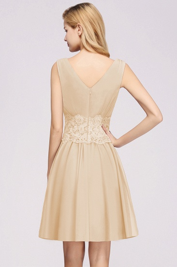 Pretty V-Neck Short Sleeveless Lace Bridesmaid Dresses Online_55