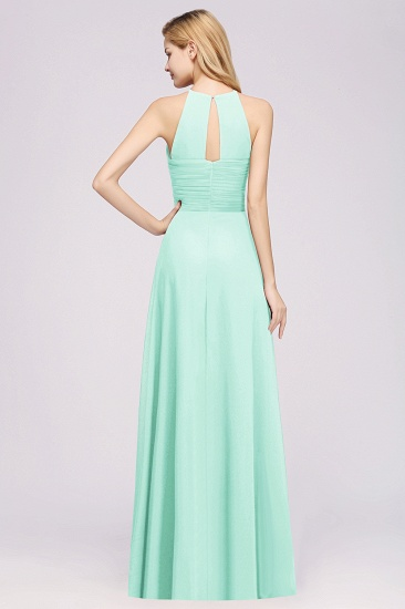 BMbridal Halter Crisscross Pleated Bridesmaid Dress Blue Chiffon Sleeveless Maid of Honor Dress_62