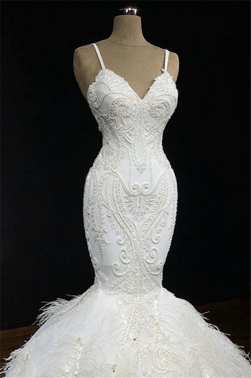 BMbridal Sexy Spaghetti Straps Sleeveless White Wedding Dresses With Appliques Mermaid Sleeveless Bridal Gowns On Sale_3