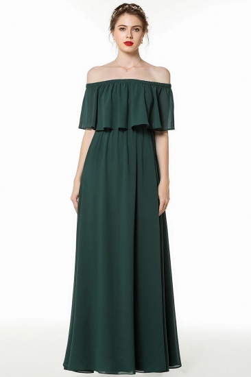Gorgeous Chiffon Flounced Crinkle Cold-shoulder Long Bridesmaid Dresses Affordable_5