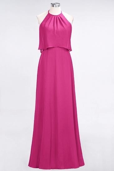 Gorgeous Chiffon Flounced Crinkle Sheath Long Burgundy Bridesmaid Dresses_9