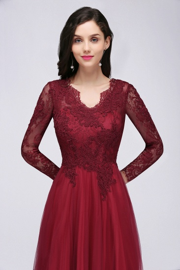 Affordable Long Sleeves V-Neck Lace Burgundy Bridesmaid Dresses with Appliques_6
