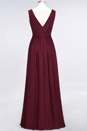 Glamorous TulleV-Neck Ruffle Burgundy Bridesmaid Dress Online_63