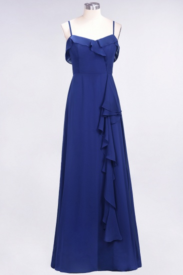 BMbridal Elegant Spaghetti Straps Ruffle Burgundy Chiffon Dresses Affordable_26