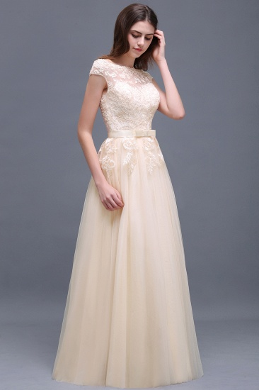 Affordable Off-the-Shoulder Champagne Bridesmaid Dresses with Appliques_4