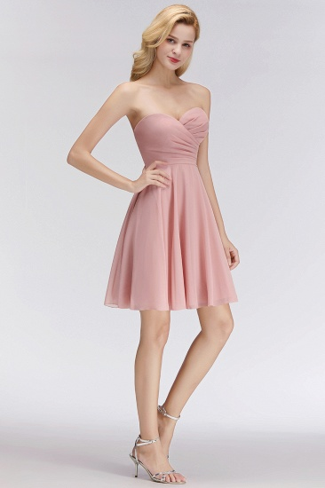 Lovely Sweetheart ruffle Pink Chiffon Short Bridesmaid Dresses Affordable_6