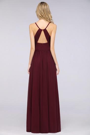 BMbridal Elegant Chiffon V-Neck Burgundy Bridesmaid Dresses With Spaghetti-Straps_3