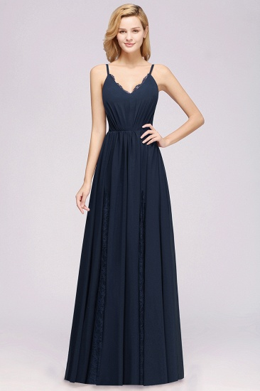 Elegant Spaghetti Straps Long Bridesmaid Dress Lace V-Neck Maid of Honor Dress_53