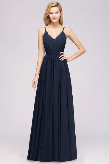 BMbridal Elegant Spaghetti Straps Long Bridesmaid Dress Lace V-Neck Maid of Honor Dress_53
