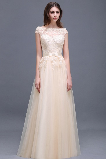 Affordable Off-the-Shoulder Champagne Bridesmaid Dresses with Appliques_1