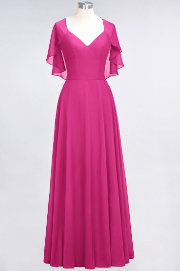 Chic Satin V-Neck Long Burgundy Chiffon Bridesmaid Dress with Flutter Sleeve_9