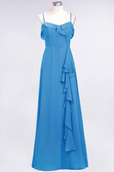 Elegant Spaghetti Straps Ruffle Burgundy Chiffon Dresses Affordable_25