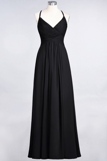 Affordable Chiffon Ruffle V-Neck Bridesmaid Dress with Spaghetti Straps_28