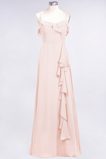 Elegant Spaghetti Straps Ruffle Burgundy Chiffon Dresses Affordable_5