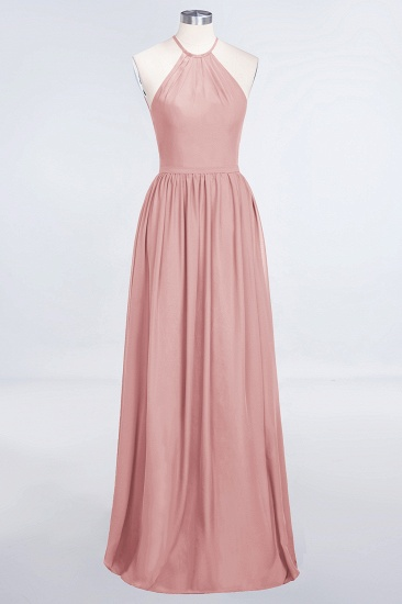 BMbridal Affordable Halter Sleeveless Long Burgundy Bridesmaid Dress with Ruffle_6