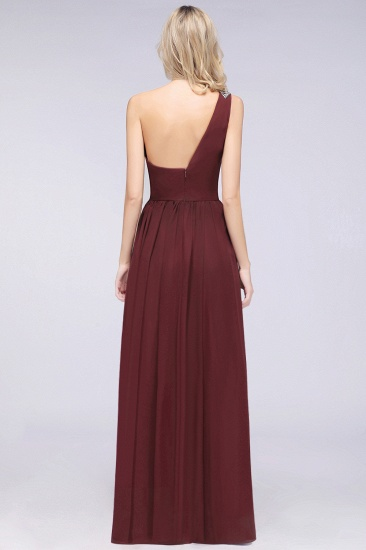Affordable Chiffon One-Shoulder Ruffle Bridesmaid Dress with Beadings_52