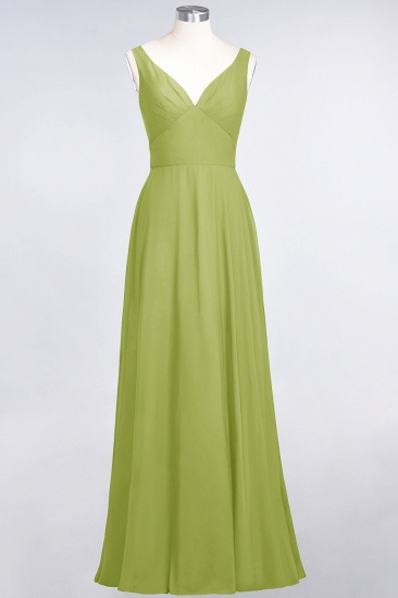 Chic Chiffon V-Neck Straps Ruffle Affordable Bridesmaid Dresses with Open Back_34