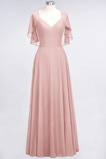 Chic Satin V-Neck Long Burgundy Chiffon Bridesmaid Dress with Flutter Sleeve_6