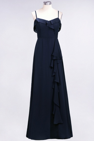BMbridal Elegant Spaghetti Straps Ruffle Burgundy Chiffon Dresses Affordable_28