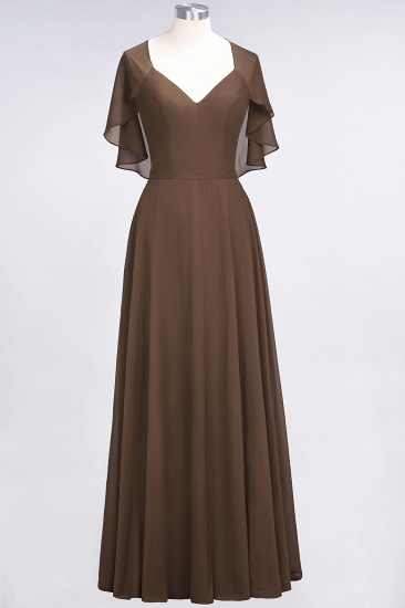 Chic Satin V-Neck Long Burgundy Chiffon Bridesmaid Dress with Flutter Sleeve_12