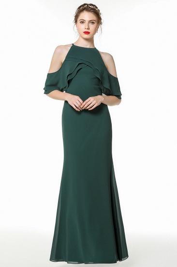 BMbridal Affordable Cold-shoulder Ruffle Dark Green Bridesmaid Dresses Online_5