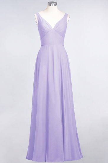 Chic Chiffon V-Neck Straps Ruffle Affordable Bridesmaid Dresses with Open Back_21