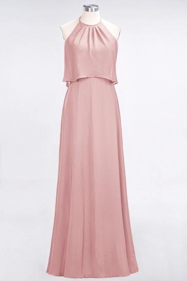 BMbridal Gorgeous Chiffon Flounced Crinkle Sheath Long Burgundy Bridesmaid Dresses_6
