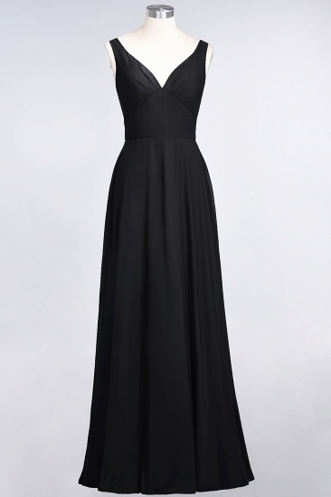 Chic Chiffon V-Neck Straps Ruffle Affordable Bridesmaid Dresses with Open Back_29