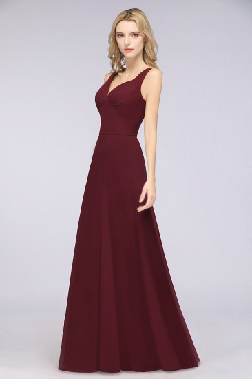 Chic Chiffon V-Neck Straps Ruffle Affordable Bridesmaid Dresses with Open Back_53
