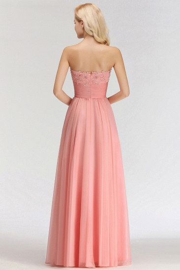 Elegant Sweetheart Ruffle Pink Bridesmaid Dresses with Appliques_3