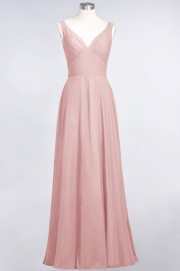 Chic Chiffon V-Neck Straps Ruffle Affordable Bridesmaid Dresses with Open Back_6