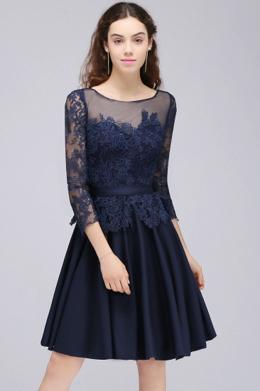 BMbridal Modest 3/4 Sleeves Short Navy Lace Bridesmaid Dresses with Appliques_4