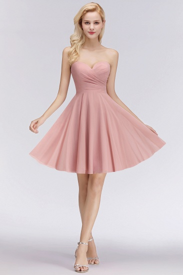 Lovely Sweetheart ruffle Pink Chiffon Short Bridesmaid Dresses Affordable_4
