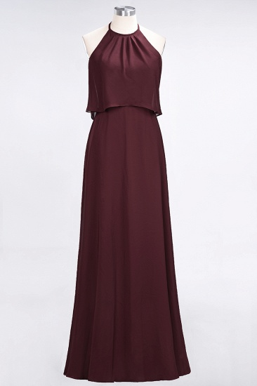 Gorgeous Chiffon Flounced Crinkle Sheath Long Burgundy Bridesmaid Dresses_10