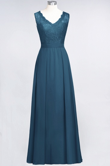 BMbridal Modest Chiffon V-Neck Burgundy Lace Bridesmaid Dresses Online_27