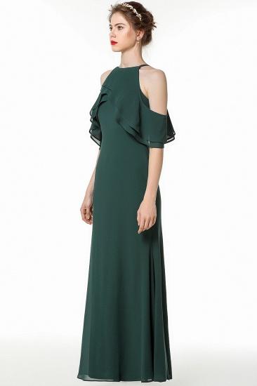BMbridal Affordable Cold-shoulder Ruffle Dark Green Bridesmaid Dresses Online_4