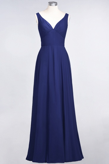 Chic Chiffon V-Neck Straps Ruffle Affordable Bridesmaid Dresses with Open Back_26