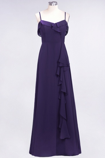 Elegant Spaghetti Straps Ruffle Burgundy Chiffon Dresses Affordable_19