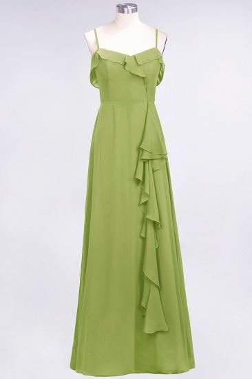 BMbridal Elegant Spaghetti Straps Ruffle Burgundy Chiffon Dresses Affordable_34
