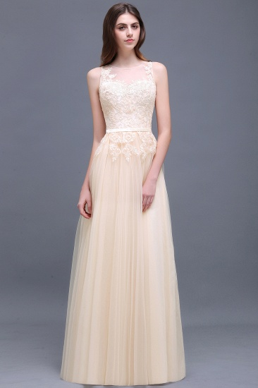 BMbridal Elegant Tulle Lace Champagne Long Bridesmaid Dress With Appliques_1