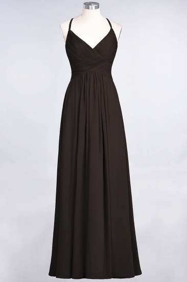 Affordable Chiffon Ruffle V-Neck Bridesmaid Dress with Spaghetti Straps_11