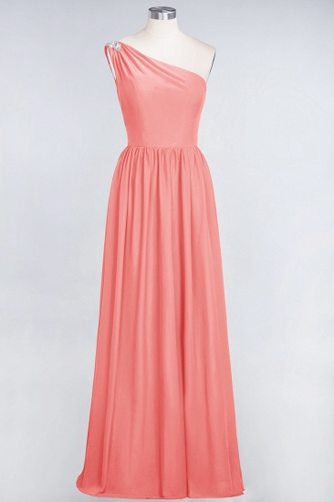 Affordable Chiffon One-Shoulder Ruffle Bridesmaid Dress with Beadings_7