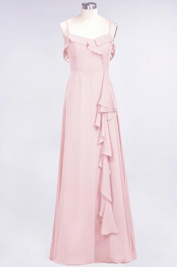 Elegant Spaghetti Straps Ruffle Burgundy Chiffon Dresses Affordable_3
