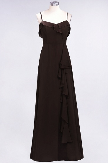 Elegant Spaghetti Straps Ruffle Burgundy Chiffon Dresses Affordable_11