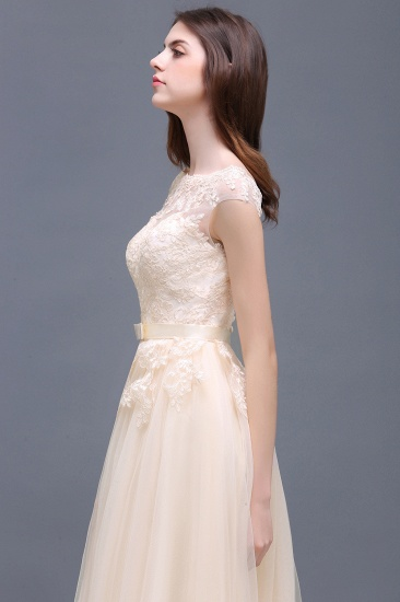 Affordable Off-the-Shoulder Champagne Bridesmaid Dresses with Appliques_6