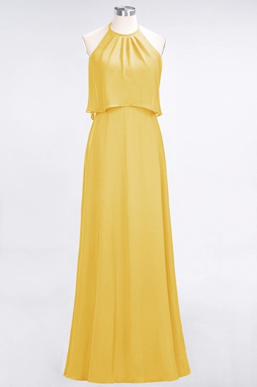 BMbridal Gorgeous Chiffon Flounced Crinkle Sheath Long Burgundy Bridesmaid Dresses_17
