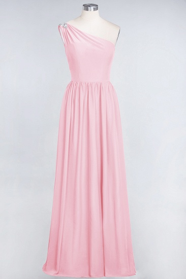 Affordable Chiffon One-Shoulder Ruffle Bridesmaid Dress with Beadings_4