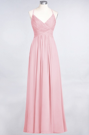 Affordable Chiffon Ruffle V-Neck Bridesmaid Dress with Spaghetti Straps_4